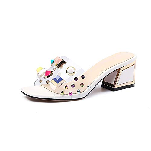 XLY Frauen Shiny Strass Slip On Slide Sandalen, Open Toe Sommer Low Block Heel Casual Hausschuhe Beach Party Schuhe,White,42 Womens Low Slide Sandalen