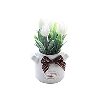 Catkoo Flores artificiales, 1 unidad de tulipán de flores artificiales en maceta, bonsái, jardín, boda, decoración del hogar, fiesta, decoración del hogar, oficina, decoración de Navidad, color blanco
