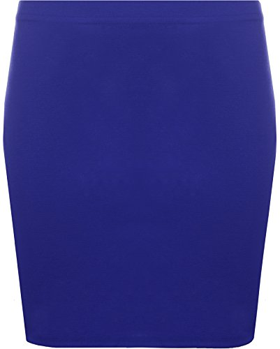 WearAll - Neu Damen Bodycon Elastisch Micro Mini Skirt Gummizug Kurze - Blau - 36-38 (Rock Blau)