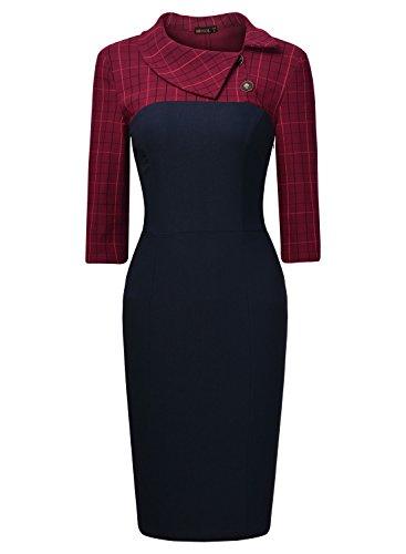 Miusol Femme Colliers Vintage 3 / 4 Manche Revers Robe Bleu