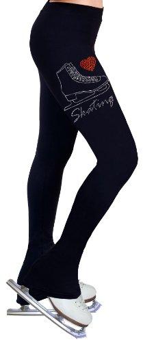 ny2 Sportswear Eiskunstlauf Praxis Hose mit Strass R221, Damen, schwarz, Erwachsene Large