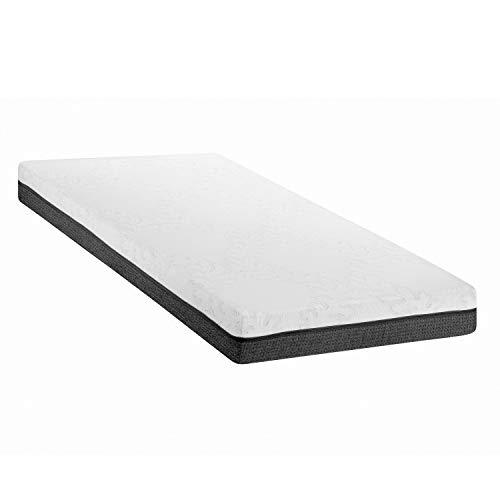 ABAKUHAUS Twin Size Matratze, Zwei Schichten High Resilience Kaltschaum mit Viscoelastisches Memory Foam für Schlafpositionen Orthopädisch Gewichtsverteilung, 90 cm Weit x 200 cm Lang, Grau Weiß