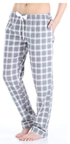 PajamaMania Flanell Pyjama Hose für Damen, Grau Plaid (PMF1001-2059-UK-XL) - Grau Plaid Flanell