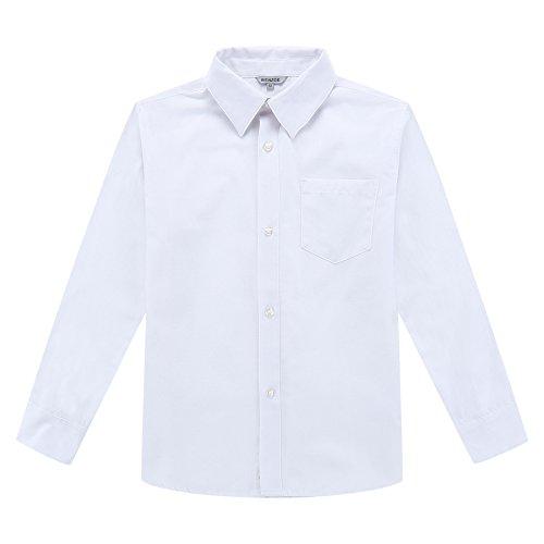 Bienzoe ragazzi uniforme scolastica manica lunga oxford camicia bianco 12