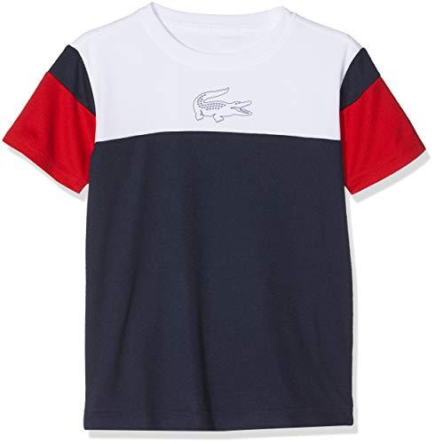 Marine-blau-kinder T-shirt (Lacoste Sport Jungen Tj5383 T-Shirt, Blau Marine-Rouge Blanc A10, 10 Jahre (Herstellergröße: 10A))