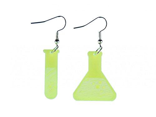 Reagenzglas und Kolben Ohrringe Ohrhänger Miniblings Chemie Acryl LC neon grün (Damen-kolben)