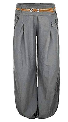 Hosen-stil Hose (Shujin Damen Sommer Elegant Leinen Leicht Pumphose Baggy Harem Stil Lange Hose Aladinhose Pluderhose mit Gürtel oder ohne Gürtel)