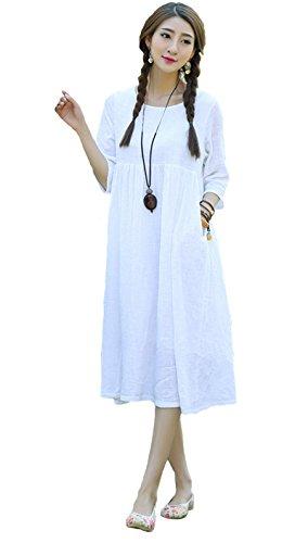 Blansdi Vintage Femme Manches Longues Maxi Robe de Soiree Bal Plage Loose A-line Robe Tunique Blanc