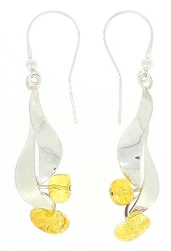 Schmuck Irina–Ohrringe Blatt in Silber & Bernstein Zitrone (Zitrone Blatt)