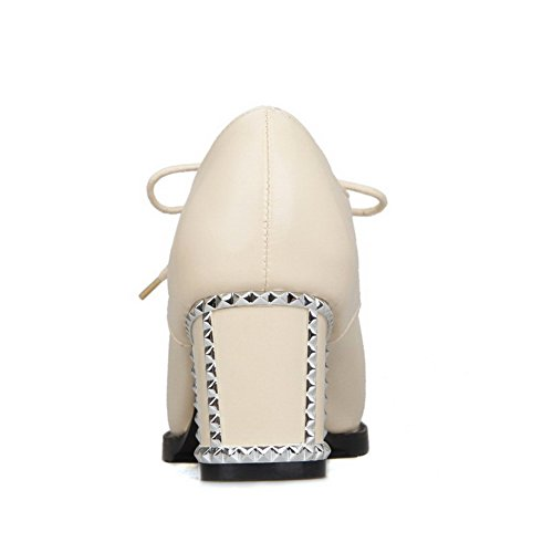 AllhqFashion Femme Lacet à Talon Correct Pu Cuir Couleur Unie Pointu Chaussures Légeres Beige