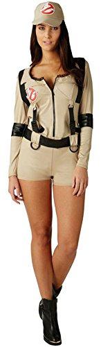 Luxuspiraten - Damen Ghostbusters Jumpsuit, Kostüm, Beige, Größe XL