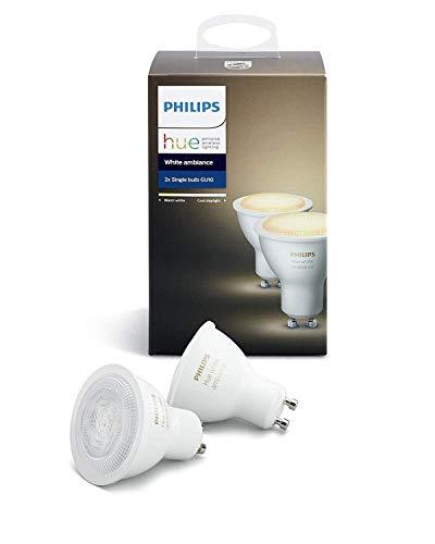 Philips Hue White Ambiance - Pack de 2 bombillas LED (2x5.5W, GU10, iluminación inteligente - tono de luz blanca cálida y fría regulable, compatible con Amazon Alexa, Apple HomeKit y Google Assistant
