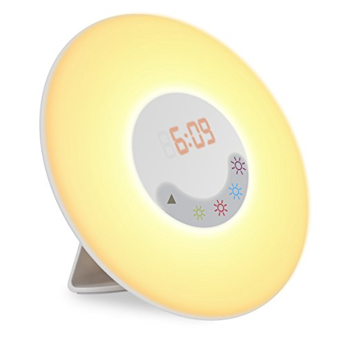 Wake-up light, Amir® Luce Sveglia, Alba Simulation wake-up Light, 6suoni sveglia lampada 5colori atmosphären 4-luminosità luce notturna con radio FM