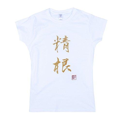 Strand Clothing Japonais pour Homme - Seikon/Knabstrupper - Calligraphie Japonaise Imprimé pour Femme pour Femme T pour Homme - Blanc - Blanc - Medium