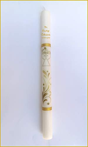 FIESTADEKOR Vela/Cirio para Bautizo de Cera Blanca Decorada con Dibujos de Ceremonia y Rematada con Cintas Doradas de Tela Metalizada. Medida 3x40cm. Color Ocre (Personalizada)