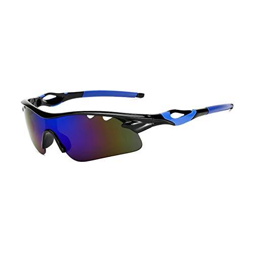 DOLOVE Vintage Motorradbrille Motocross Sonnenbrille Sport Nachtsichtbrille Fanti Glanz Schwarz Blau