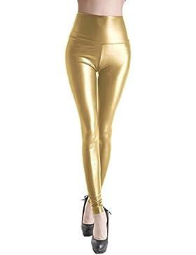 ZIOOER Damen Kunstleder Leder High Waist Wetlook Leggings Hose Strumpfhosen Treggins Leggins Kunstleder Leggings...