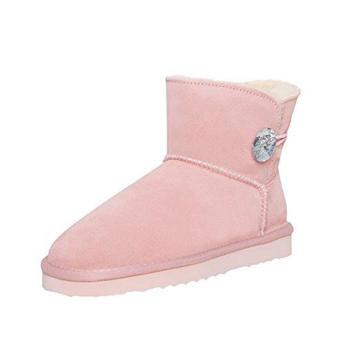 SKUTARI Wildleder Damen Winter Boots | Warm Gefüttert | Schlupf-Stiefel mit Stabile Sohle | Bling Diamant Pailletten Knopf Schuhe (40, Pink/5036) (Diamant-damen Jeans)