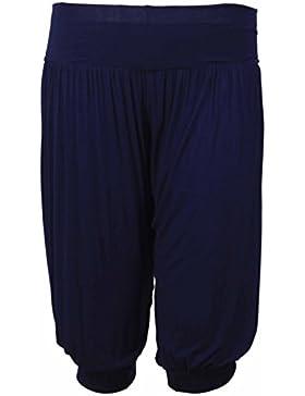 Pantaloni corti da donna, stile arabo, taglie forti, vestibilità comoda, elasticizzati Navy blue 52/54