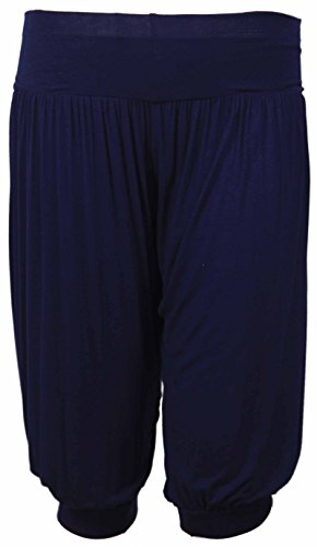 New-Ladies-Plus-Size-Ali-Baba-Baggy-Stretch-Fit-Shorts-Womens-Plain-Cropped-Harem-Trouser-Pants