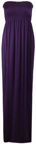 Damen Neues Bustier Bandeau Jersey Sommerkleid Trägerlos Maxi Kleid Elastisch Violett
