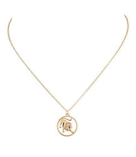 Sternzeichen, Löwe, Statement Kette, Anhänger, Symbol, Gold (758-933) ()