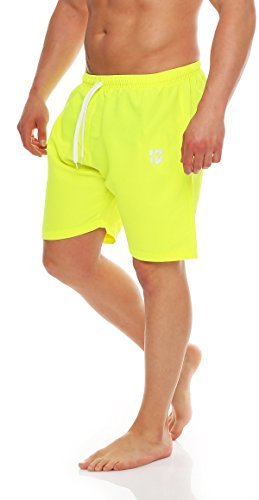 Gennadi Hoppe Herren Badeshorts Badehose Beach Shorts Schwimmshort,Neongelb, X-Large -