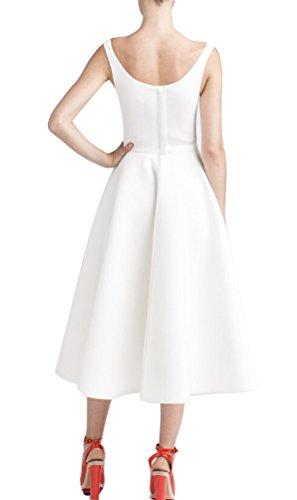 SMITHROAD Damen Weinlese Rockabilly Swing Abend Abschlussballkleid 1950er Weiß
