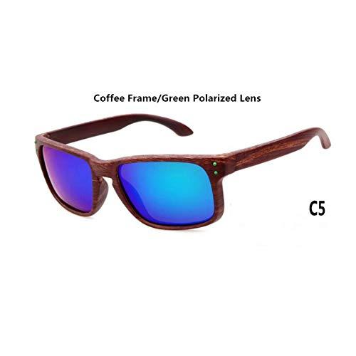 WZYMNTYJ Herren Holzmaserung Polarisierte Sonnenbrille Männer Vintage Eyewear Nieten Beschichtung Brille Braun Frames Männlich Weiblich Platz Sonnenbrille