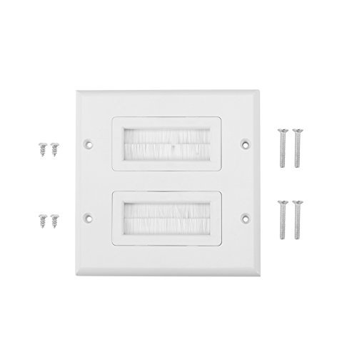 Anti-Dust Brushplate Cable Wall Plate Port White Brush Strip Wallplate Insert Outlet Cable Faceplate Mount Multimedia Panel(Zwei) Mount Wall Plate