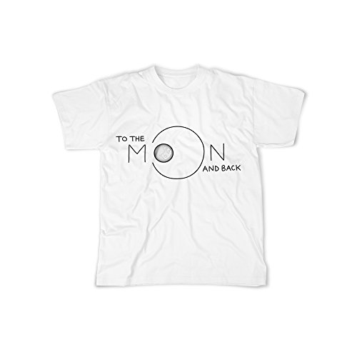 Männer T-Shirt mit Aufdruck in Weiß Gr. XL In To The Moon And Back Design Boy Top Junge Shirt Herren Basic 100% Baumwolle kurzarm (Big Kids Kleidung Weiße)