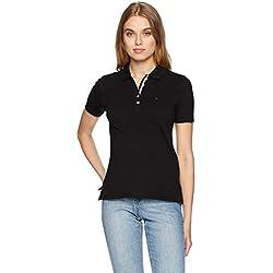 Tommy Jeans Femme ORIGINAL BASIC POLO Polo Manches Courtes Noir (Tommy Black 078) X-Large