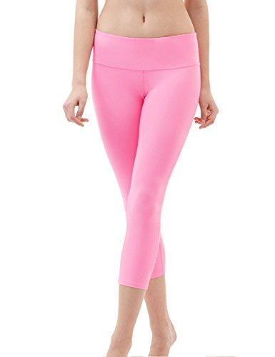 DeepTwist Damen Yogahose 3/4 Workout Capri Tummy Control Leggings Strumpfhosen Fitness Hose mit Tasche, UK-DT4003-Pink-12 - Capri Leggings Nylon