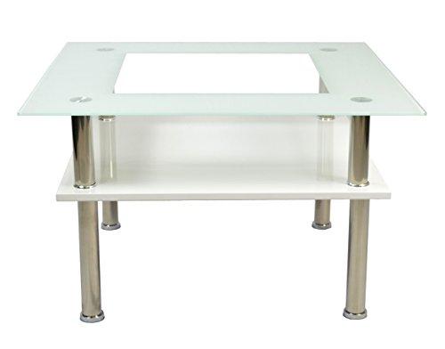 ts-ideen Design Table en Verre Salon 6 mm Verre Table d'appoint Table à café 70 x 70 cm Blanc