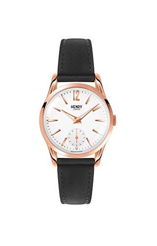 Henry London Unisex Analog Quarz Uhr mit Leder Armband HL30-US-0024