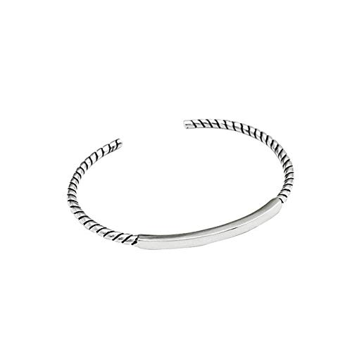 JunBo Damen Armband S925 Sterling Silber Vintage Twist Style Armband Mit Einer Schönen Geschenkbox