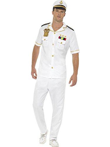 Smiffys Herren Kapitän Kostüm, Oberteil, Hose und Hut, Größe: L, ()