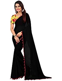 High Glitz Fashion Women's Georgette Saree With Blouse Piece (HGF1438 Black _Black_ Free Size)