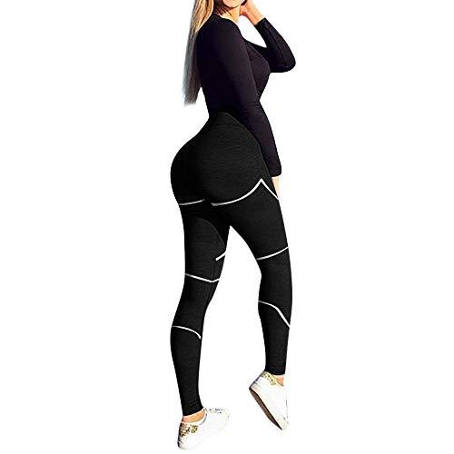 Damen Camo Leggings Yogahose MYMYG Gym Sport Leggings Lauf Fitnesshose Stretchhose Workout Hosen Skinny Tube Trousers Trainingshose Jogginghose Strumpfhosen Sporttights(Schwarz,EU:34/CN-S)
