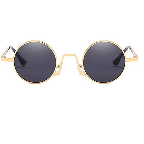 Plzlm Anti-UV-Sonnenbrillen Metallrahmen Retro runde Brillen Unisex PC Taukappen Sun Glasses Hot-shoe-zu-pc-adapter