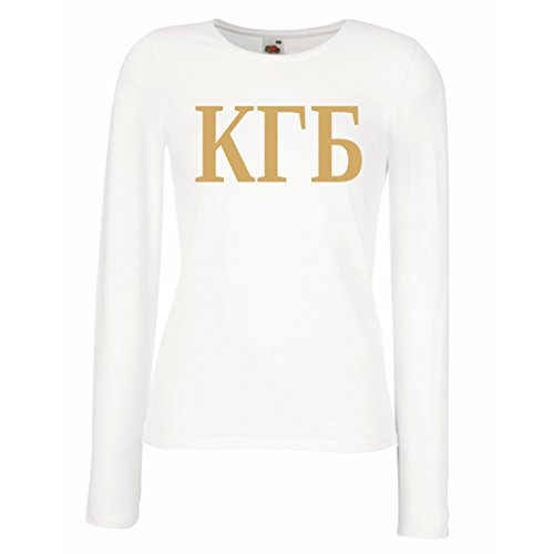 Weibliche langen Ärmeln T-Shirt Politisch - KGB, UdSSR - CCCP, Russisch, Русский Weiß Gold