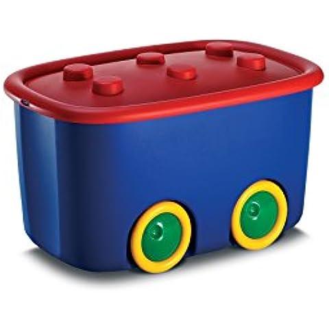 Ondis Spielzeugbox Funny - Caja con ruedas para guardar juguetes, color rojo/azul