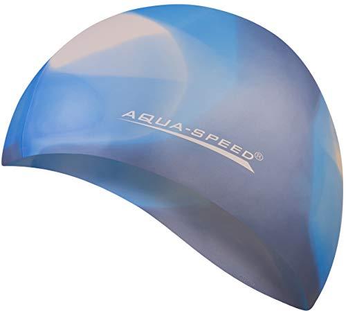 Aqua Speed® Set - BUNT Badekappe + Kleines Mikrofaser Handtuch | Silikon | Bademütze | Badehaube | Schwimmhaube | Erwachsene | Damen | Herren | Kinder, Kappen Designs:35. Bunt / 88