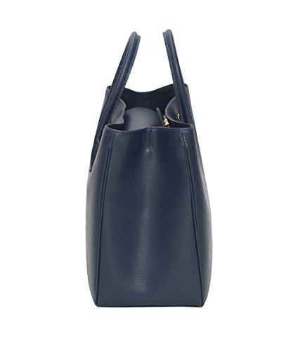 Winter & Co. Designer Damen-tasche Businesstasche Handtasche aus edlem Leder made in Italy für 14 Zoll große Laptops und A4 Ringordner mit verstellbarem Schultergurt (schwarz) Dunkelblau