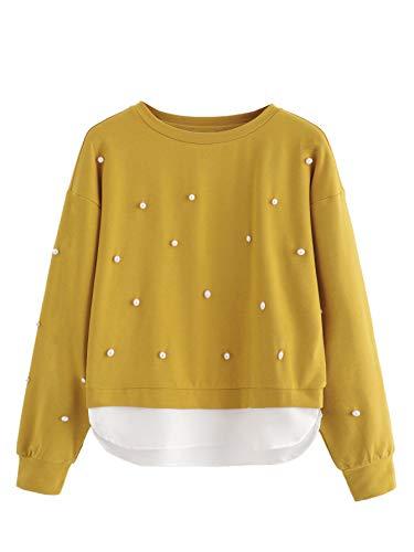 DIDK Damen Perlen Sweatshirt,Damen Pulli 2 In 1 Sweatshirt Mit Perlen Farbblock Pullover Rundkragen Tops Sweatshirt Outwear Oberteil Gelb mit Weiß S