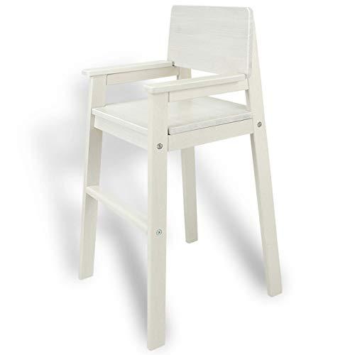 MADYES Kinderstuhl Hochstuhl Massivholz Weiss lasiert. Modernes Design. Treppenhochstuhl Buche für Esstisch, Kinderhochstuhl für Kinder, stabil & pflegeleicht viele Farben möglich