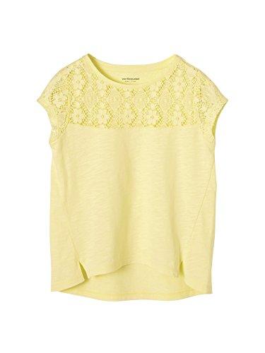 Vertbaudet Mädchen Kurzarm-Shirt mit Spitze Gelb 98/104