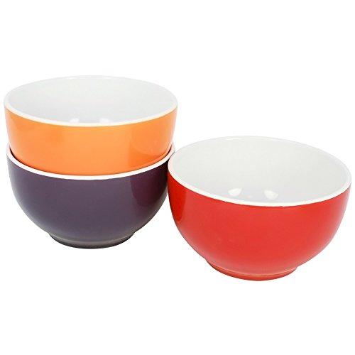 Com-Four Bol à céréales en céramique, 500 ml, Bol à Soupe en différentes couleurs 03 Stück - Set1