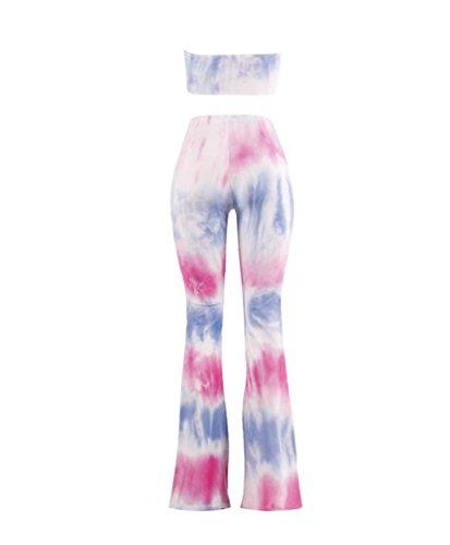 ZhiyuanAN Donna Due Pezzi Stampa Tie Dye Stretch Pantaloni E Sportivo Reggiseno Senza Spalline Pantaloni Gamba Larga E Top Stile 17
