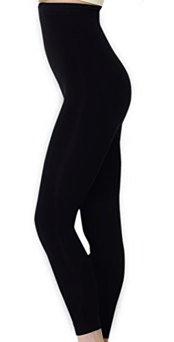 UnsichtBra Damen Shapewear Leggings, Figurformende Bauch Weg Shaping Leggins Hose in schwarz und braun (sw_2400) (L (44-50), Schwarz) - Warme Gerippte Strumpfhose